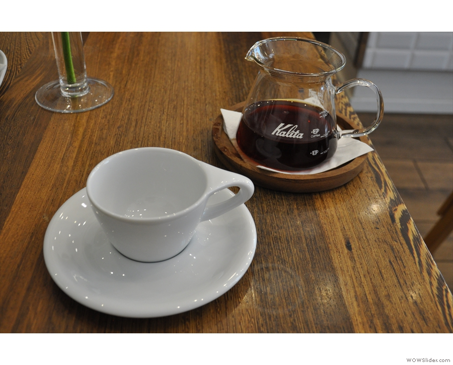 This is where I started, with a carafe of the Kenyan, from Danish roasters, La Cabra.