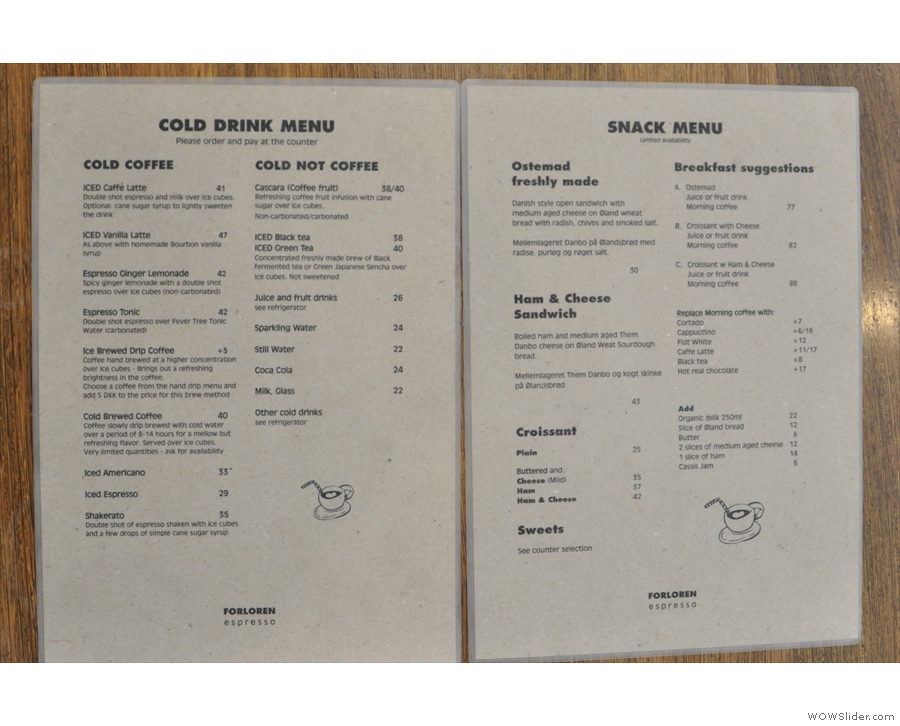 This includes the cold drinks menu ('cold coffee' & 'cold not coffee'), plus the snack menu.