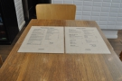 As well as the menus behind the counter, there are menus on all the tables.