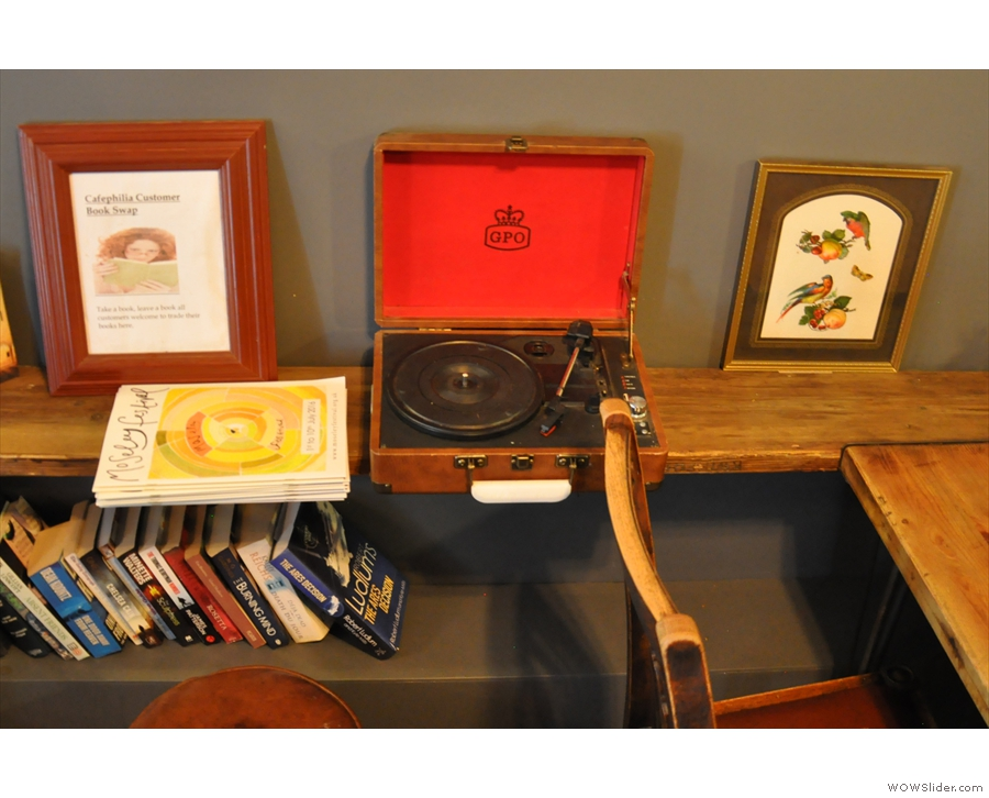 Next to the books is this old GPO record player.