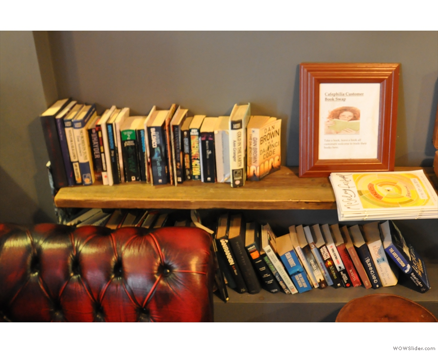 This is Cafephilia's customer book swap area. I wonder how long that Dan Brown's been there?