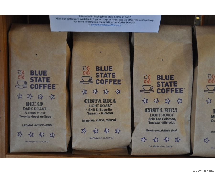 Meanwhile, a decaf blend shares shelf space with two different single-origins from Costa Rica.