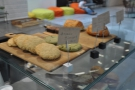 A different view of the cookies, with some bean bags in the background...