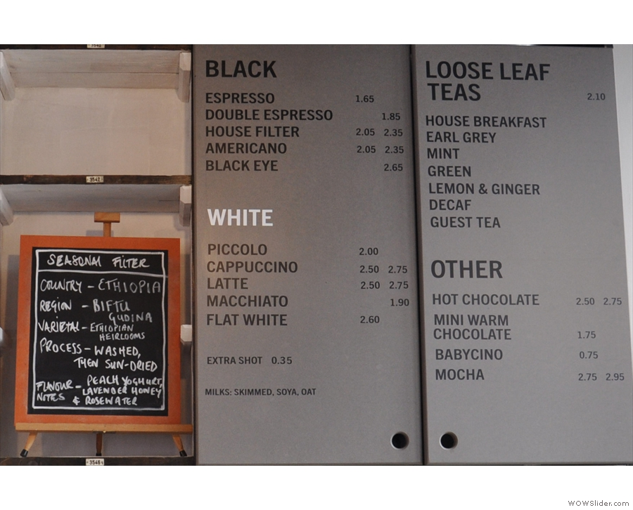 Here it is in detail, with the guest (bulk-brew) filter chalked up on the board.