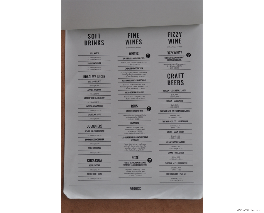 The drinks menu is just as extensive, with wine and craft beers on offer.