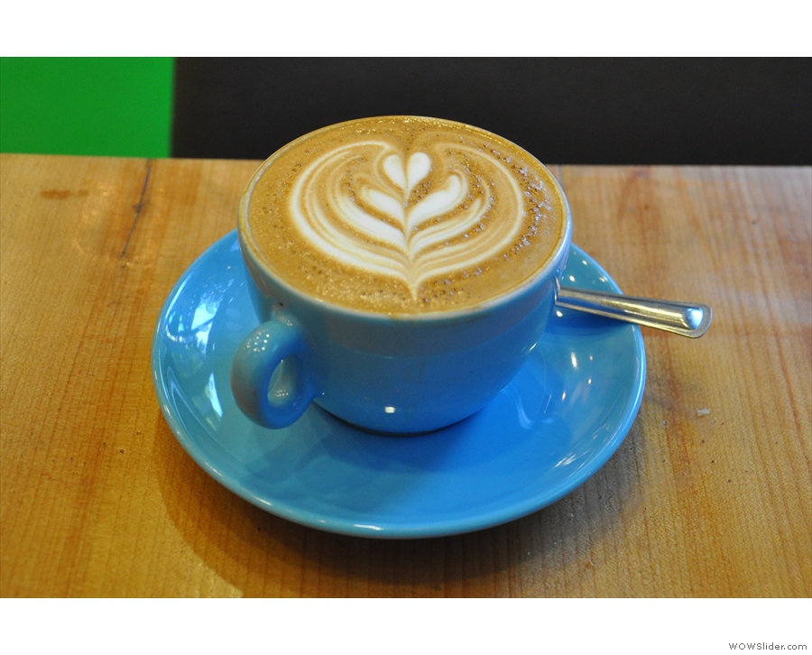 From my second visit in 2015, a lovely flat white, for once not in one of my takeaway cups...
