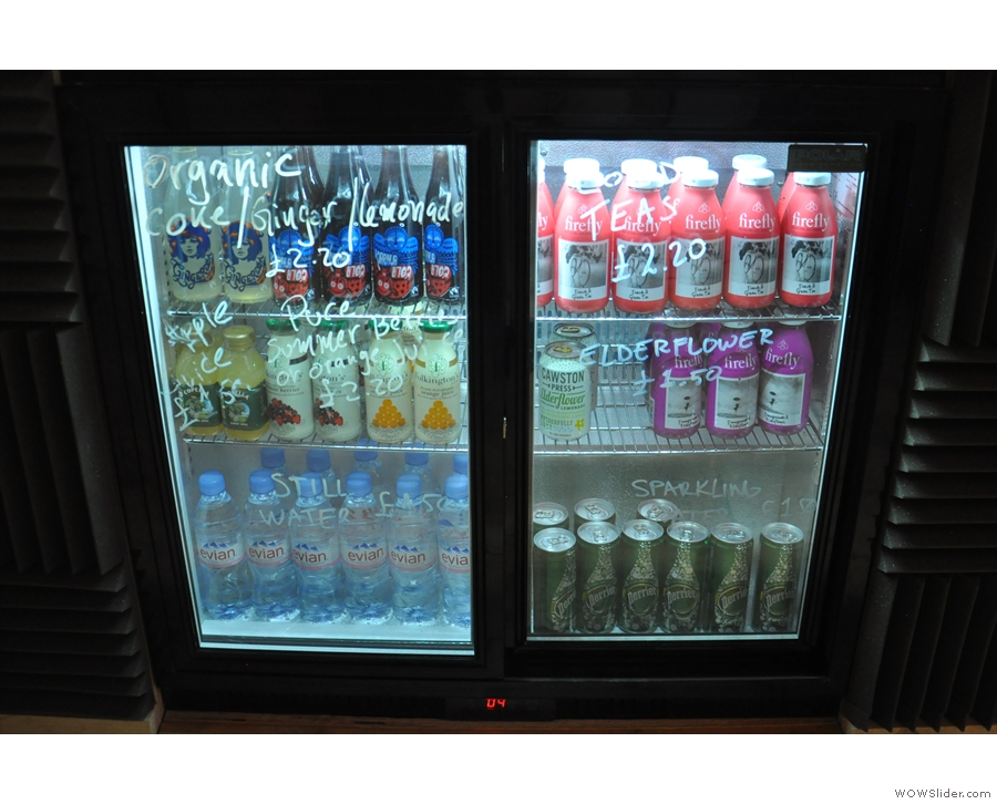 There is also a selection of cold drinks in the chiller cabinet  underneath the counter.