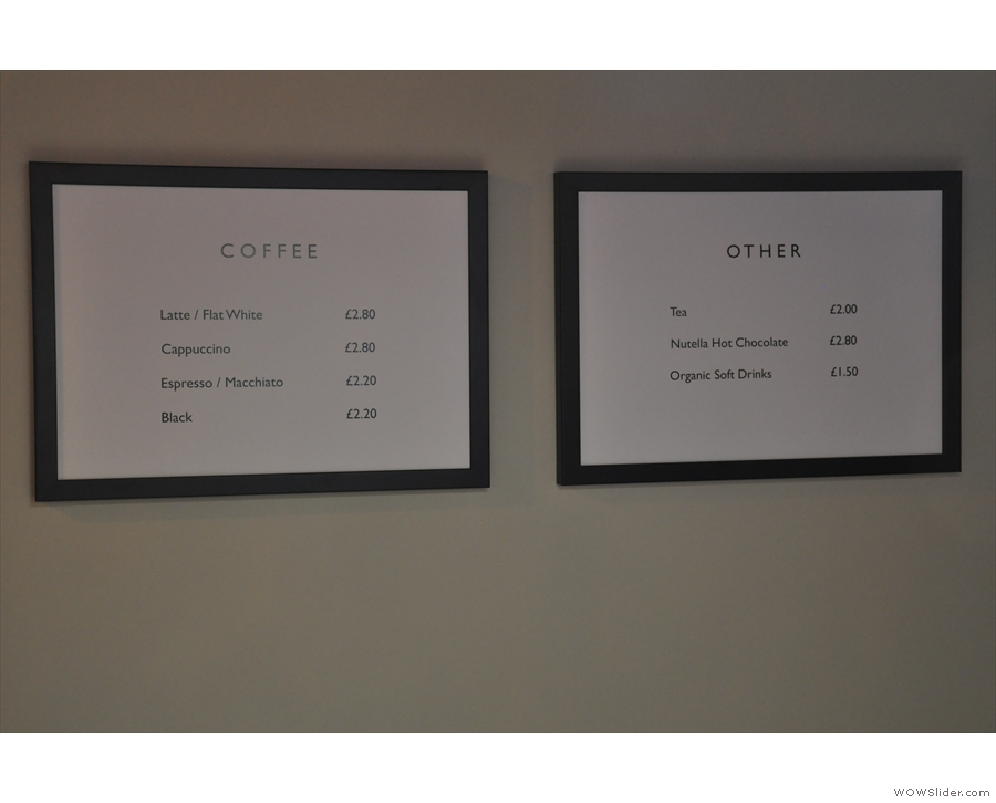The coffee menu (and other drinks menu) is commendably concise.