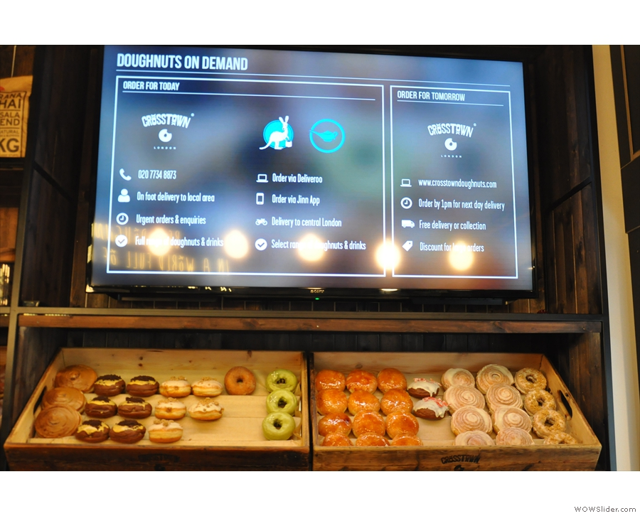 If you wait for a bit, the menu display changes, as do the doughnuts!
