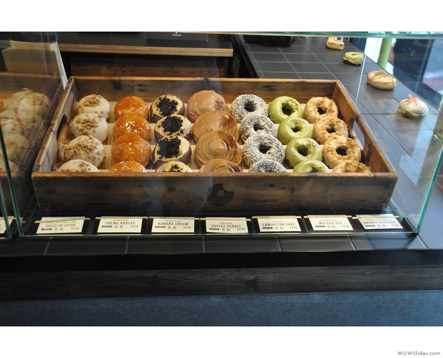 Starting immediately to your right as you enter, there are doughnuts. Seven types, in fact.
