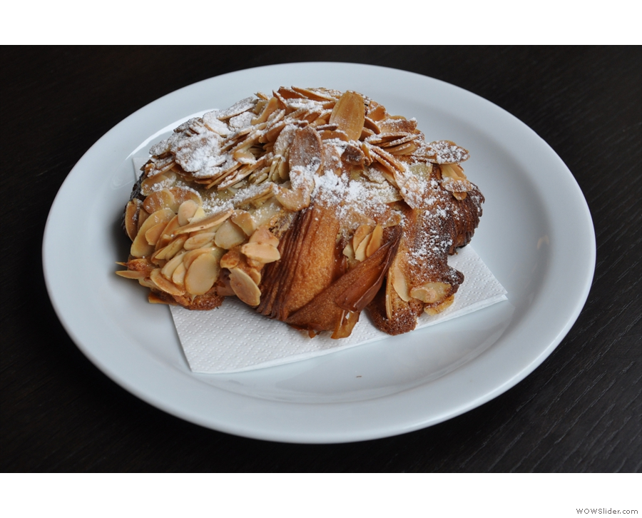 I also had a freshly-baked almond croissant.