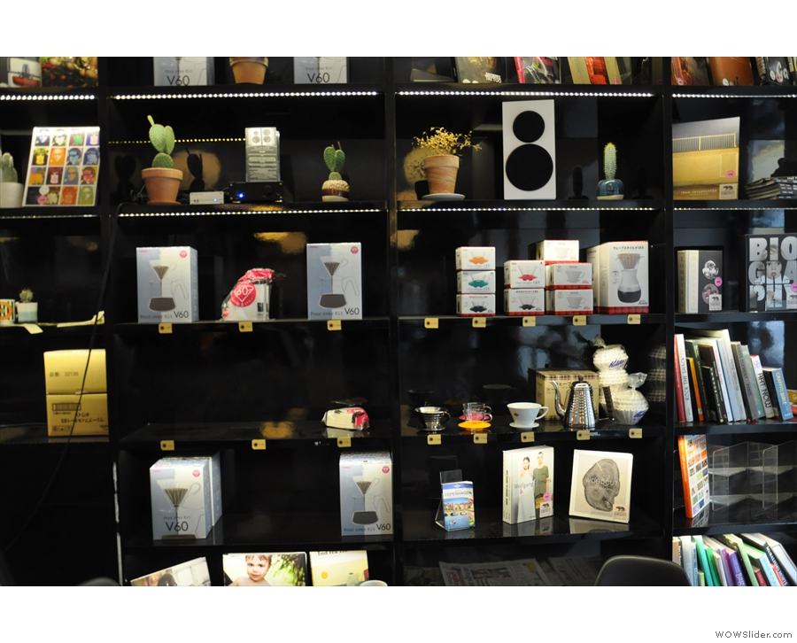 ... where you have shelves stocked with books, magazines and coffee-kit for company.