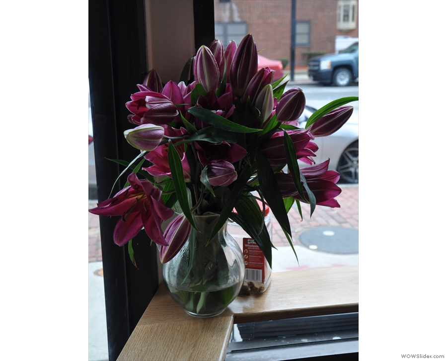 There are some nice touches, such as these lillies by the door.