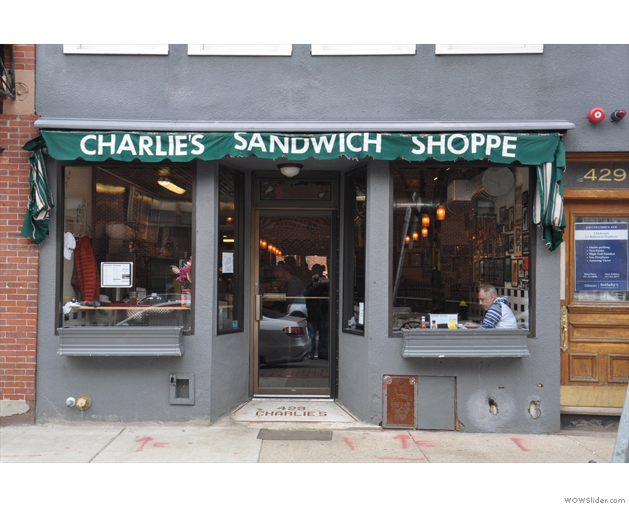 The front on view of Charlie's Sandwich Shoppe.