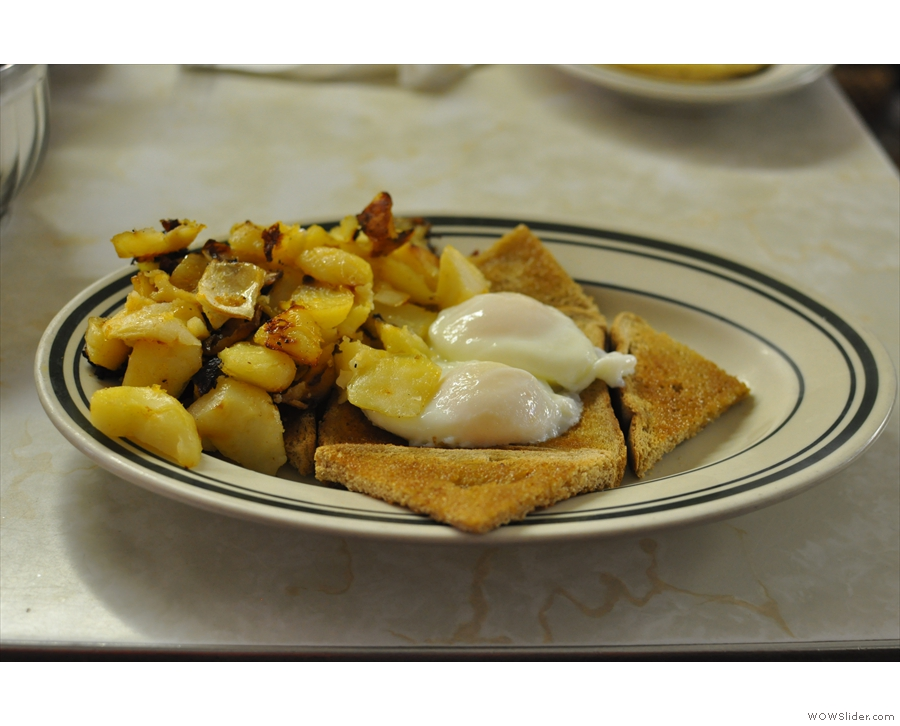 Here's one I took earlier (2013): two eggs (poached), wheat toast, home fries...