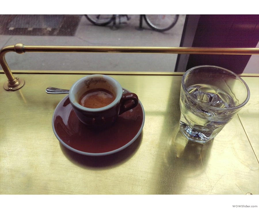 My espresso from my visit in 2016, complete with glass of water...