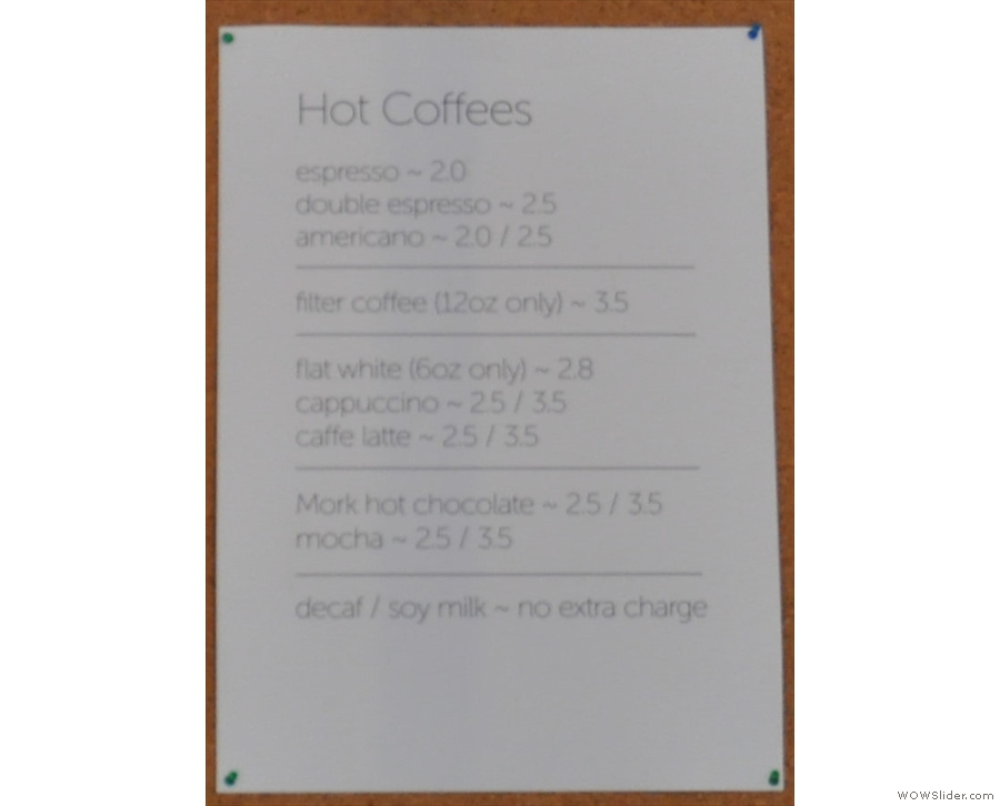 ... while this is the coffee/hot chocolate menu.