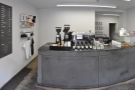 Inside, the layout of Brooklyn Coffee is very simple. There's a counter at the back...