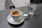This was mine: a straight espresso. With a glass of water, of course.
