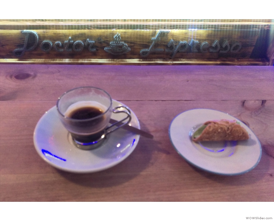 From my first visit: an espresso and cannoli.
