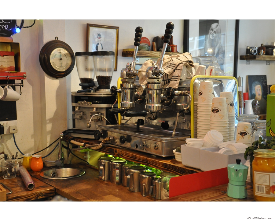 The business end of the Gaggia, which is plainly on view from the counter.