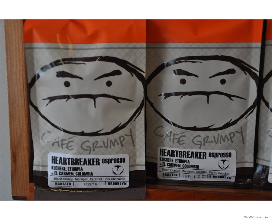 Just some of the bags of coffee you can buy to take away with you.