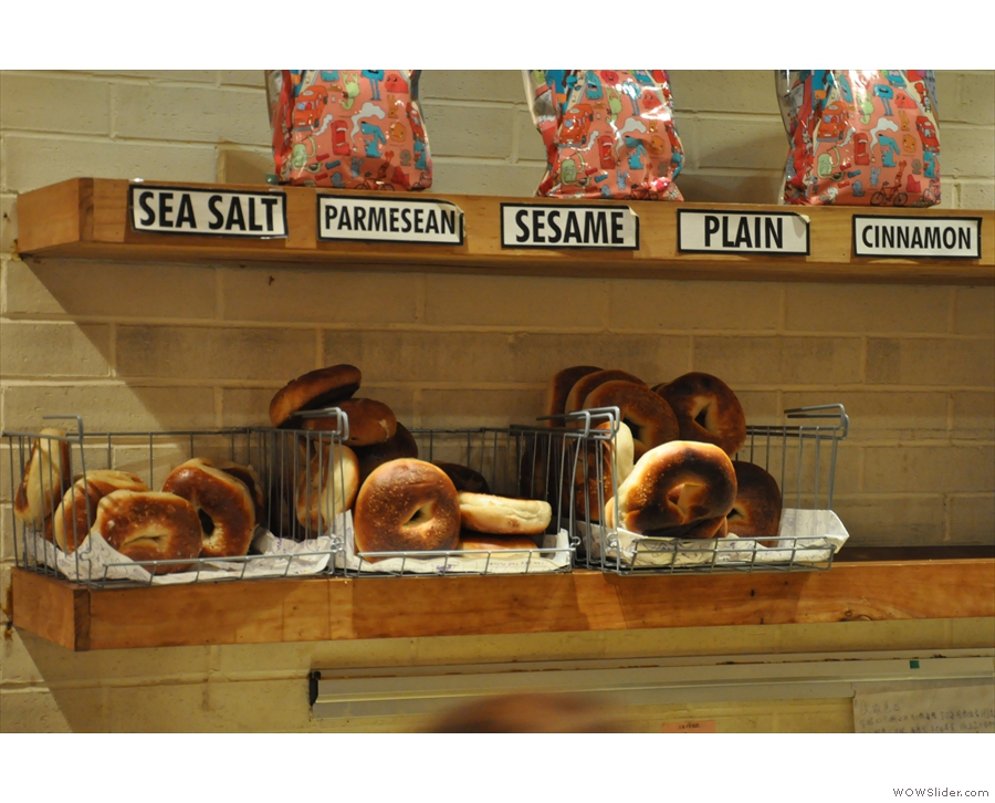 There's quite a range of bagels, plus a variety of fillings.