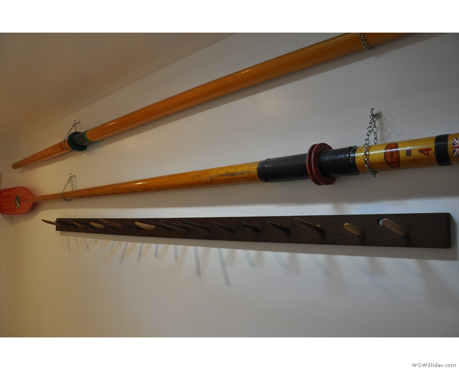 More family memorabilia. An oar from a Cambridge eight rowing team.