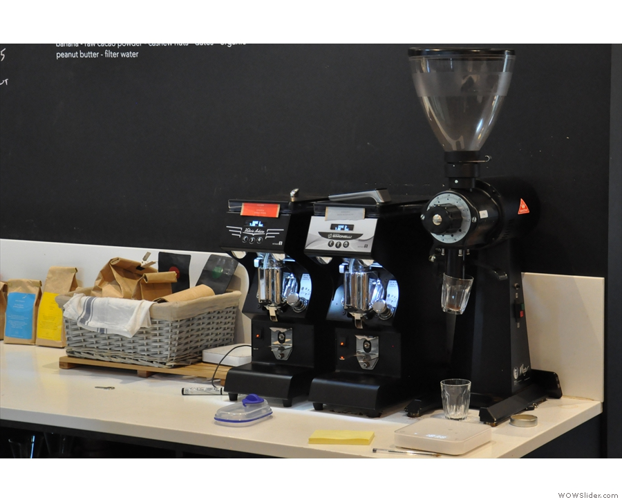 More grinders are at the back: guest espresso & decaf, plus the EK-43 for everything else.