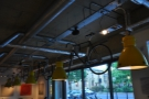 Cycling is a big thing at the Espresso Library. These vintage machines hang from the ceiling.