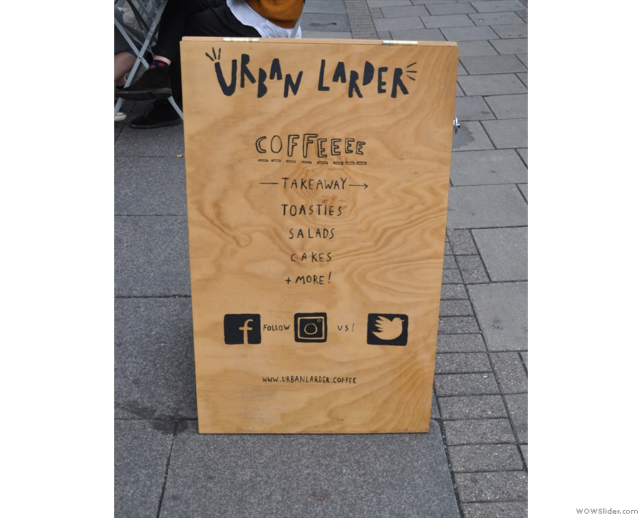 The wooden A-board on the pavement tells you the basics.