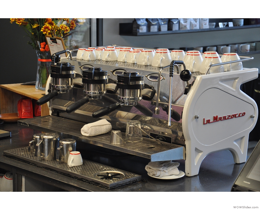 The business-end of the La Marzocco Strada...