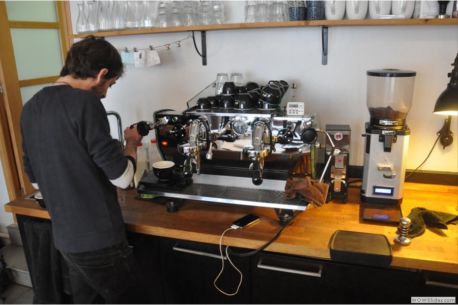 Baptiste steams the milk for a cafe au lait (think flat white)