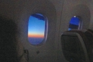 Somewhere over northern China or maybe Russia, there's a lovely sunset to the west...