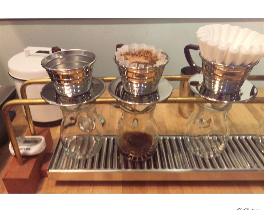 My coffee (Kalita Wave for one), happily filtering away.