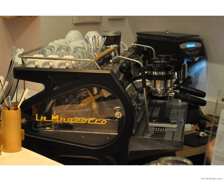 For those that like this sort of thing, the La Marzocco Strada has a transparent side panel.