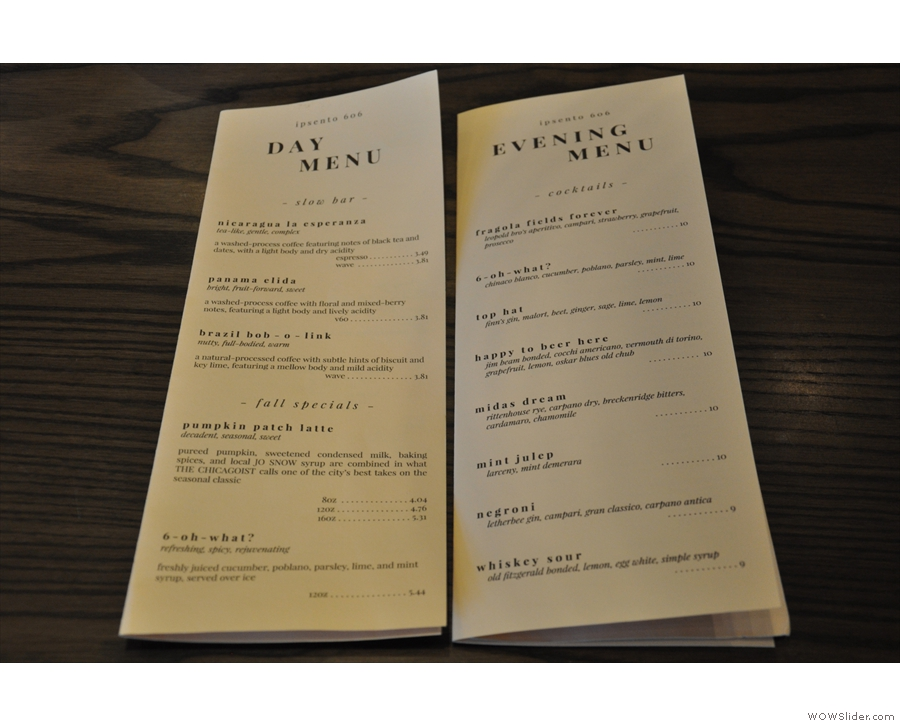 Ipsento is a coffee bar by day, cocktail bar by nigt, with two separate menus.