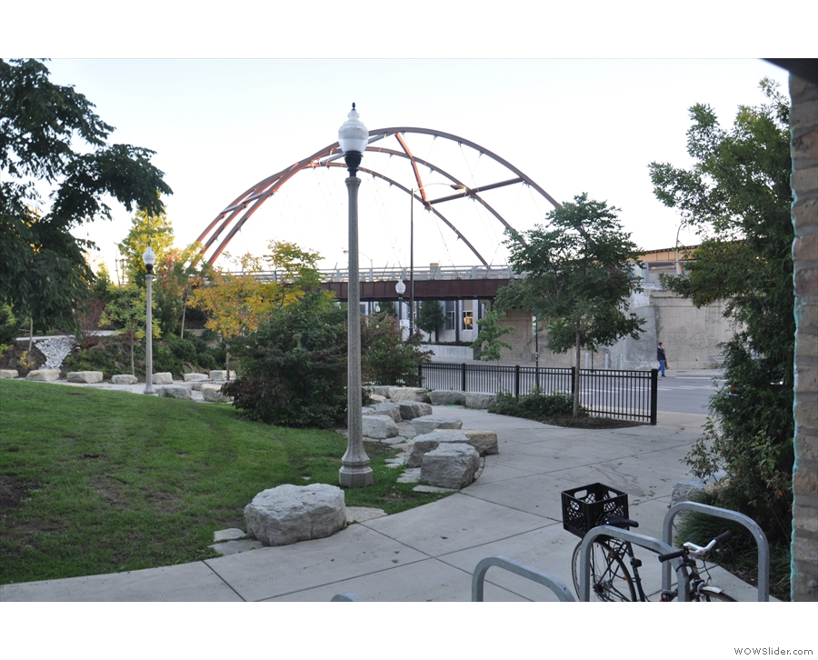 The bridge is from a disused frieght railway which now carries The 606 over Milwaukee Ave.