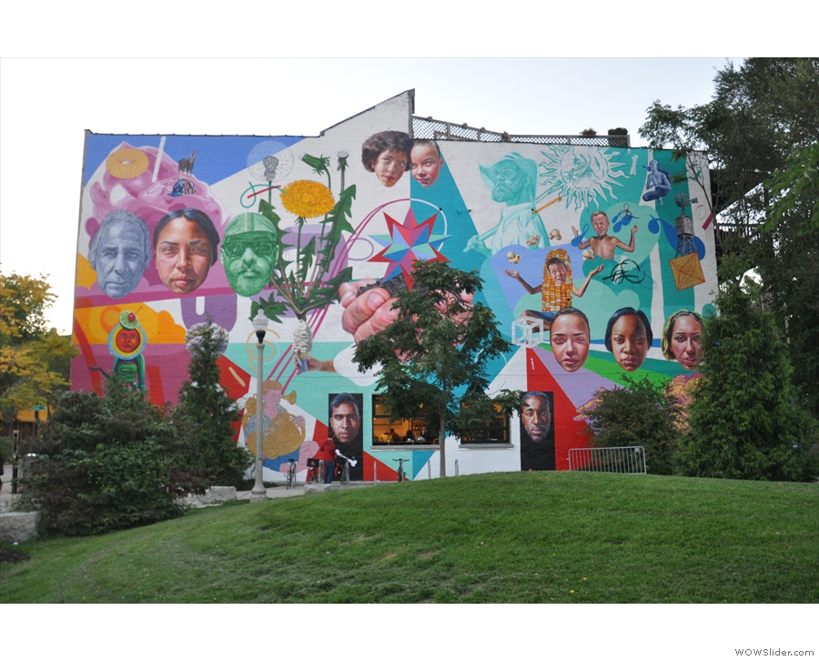 This, by the way, is the view of the side of the building from The 606. Impressive mural!