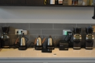 Behind the Modbar & nitro is the brew bar with its kettles & individual grinders (& an EK-43).