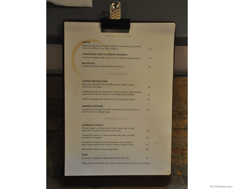 Talking of menus, there are menus on the window-bar, listing breakfast and lunch options...