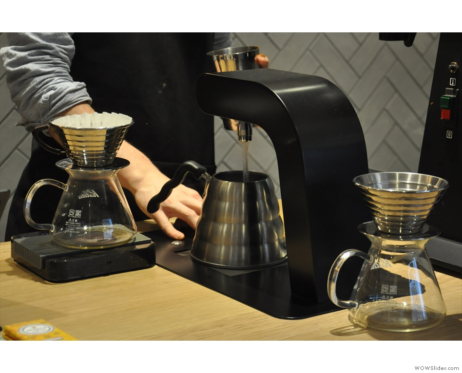 This cuts the time for each pour-over from a leisurely six minutes to a more manageable three.