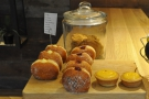 Back to the counter, where you are greeted by doughnuts and lemon curd tarts.