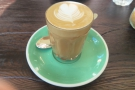 ... and rounded things off with a decaf piccolo. More excellent latte art!