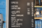 The coffee menu: concise and to the point. Coffee Collective only serves drinks here.