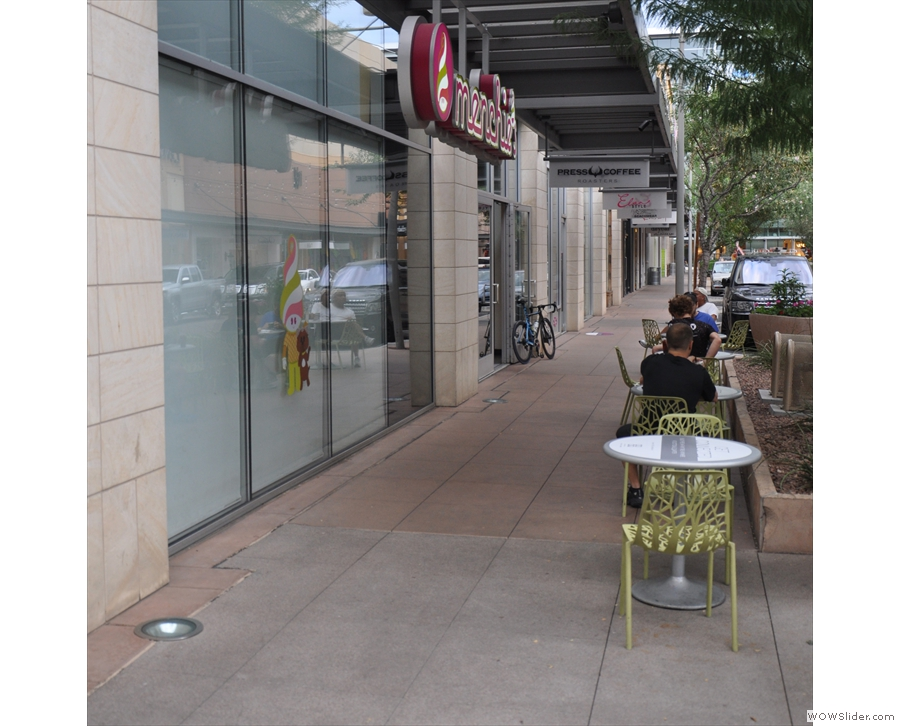 Alternatively, this is the view coming from the west, where you'll find the outdoor seating.