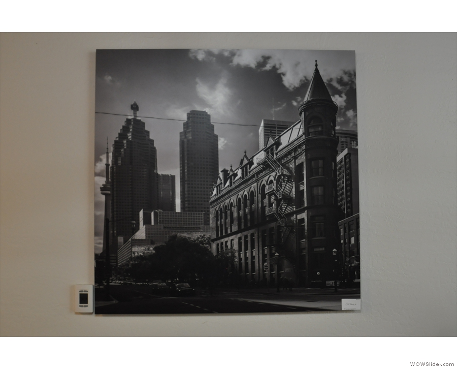 One of the pictures in detail, a photo of old Toronto.