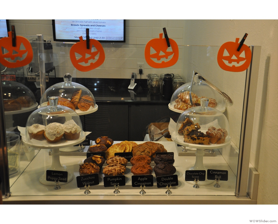 There are also cakes next to the till.