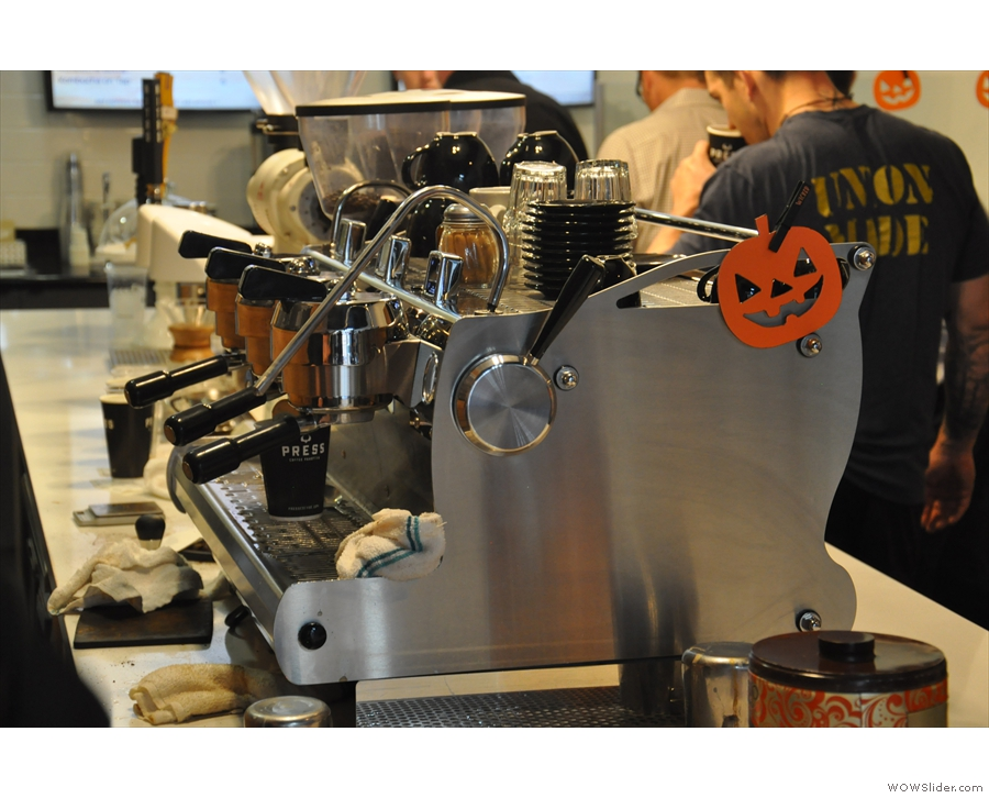 The business end of the Synesso espresso machine.