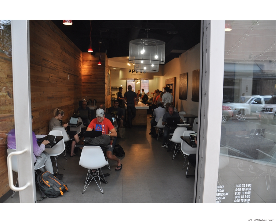 The view of Press Coffee Roasters from outside the doors.